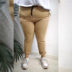 Pantalon boton camel